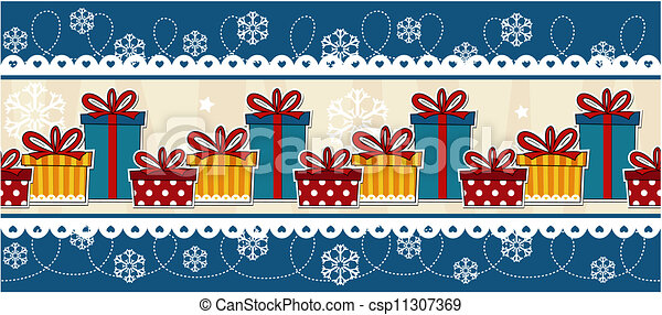 Clip Art Vector of banner christmas gift boxes - christmas ...