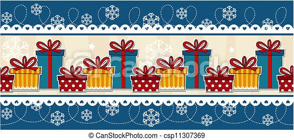 Clip Art Vector of banner christmas gift boxes - christmas ...