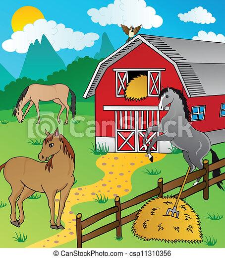 celeiro, e, cavalos - csp11310356