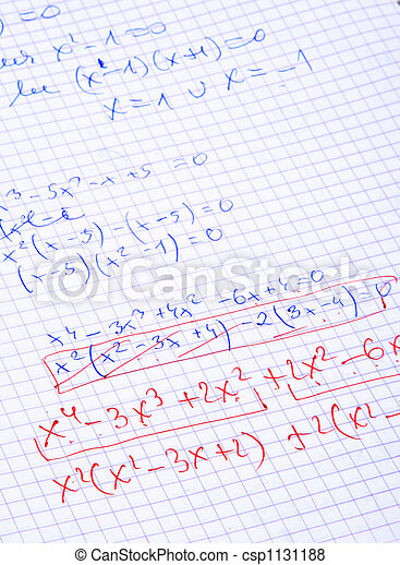 hand written maths calculations - csp1131188