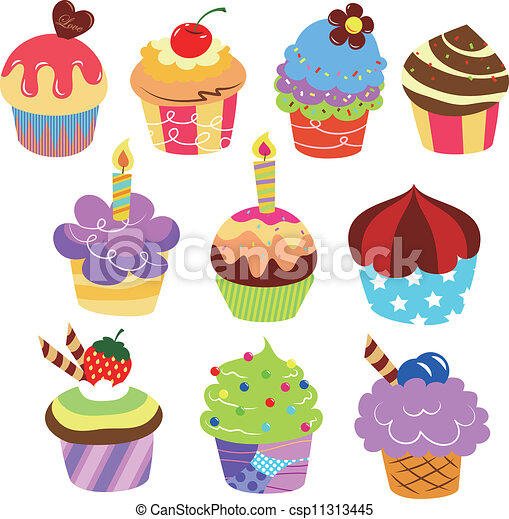 Delicious Cake Clipart : EPS Vector of Colorful delicious cakes csp11313445 ...