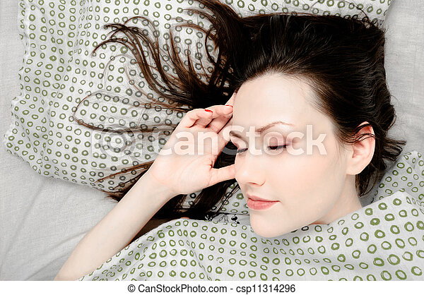 Young woman in the bed - csp11314296