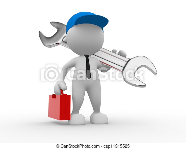 - man, person with toolbox and a... csp11315525 - Search Clipart ...