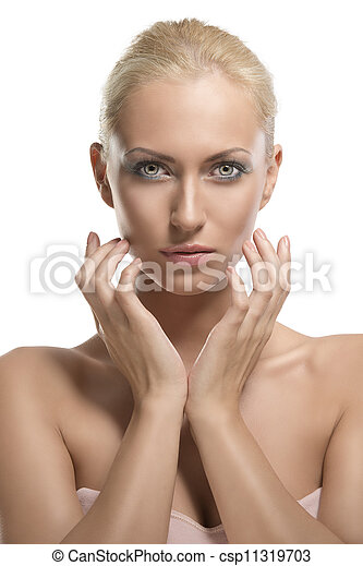 beauty portrait of blonde girl with fingers near the face - csp11319703