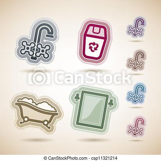 Vector clip art de ba o utensilios cuarto de ba o for Utensilios cuarto de bano