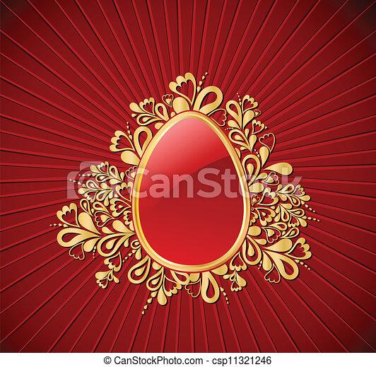 Easter gold Egg. Vector - csp11321246