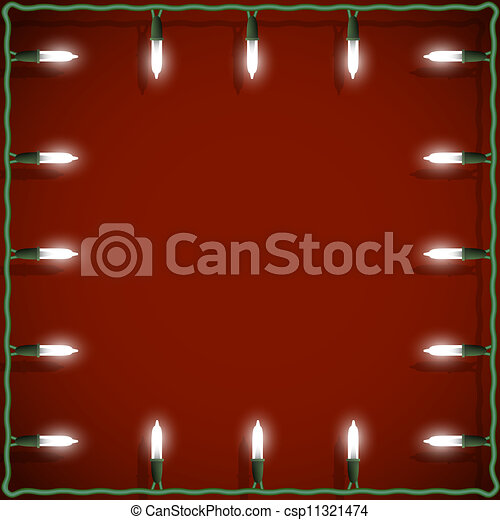 Christmas lights frame on red background - csp11321474
