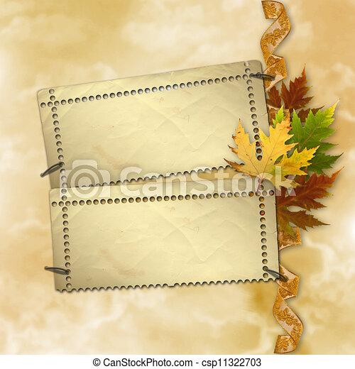 Autumn background with foliage and grunge papers design in scrapbooking style - csp11322703