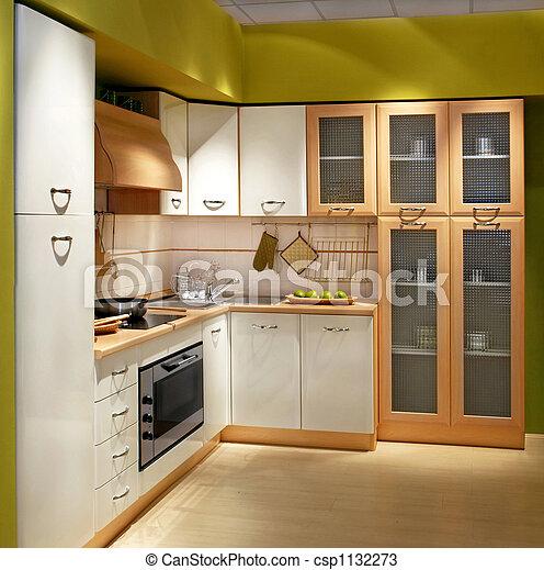 photos de carr e cuisine modern bois compteur cuisine grand csp1132273 recherchez. Black Bedroom Furniture Sets. Home Design Ideas