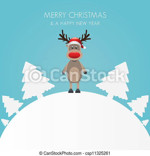reindeer hat christmas tree white b - csp11325261