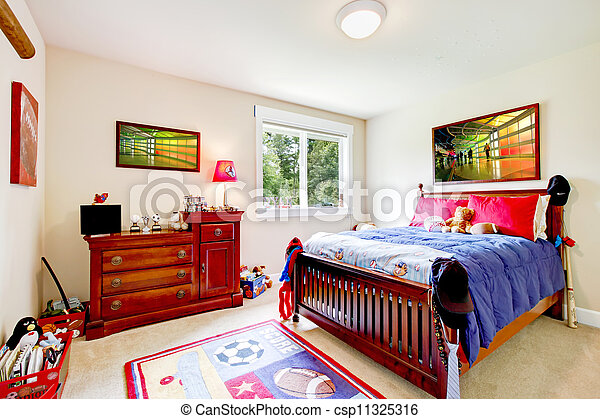 Baby boy Bedroom with wood furniture and colorful art. - csp11325316