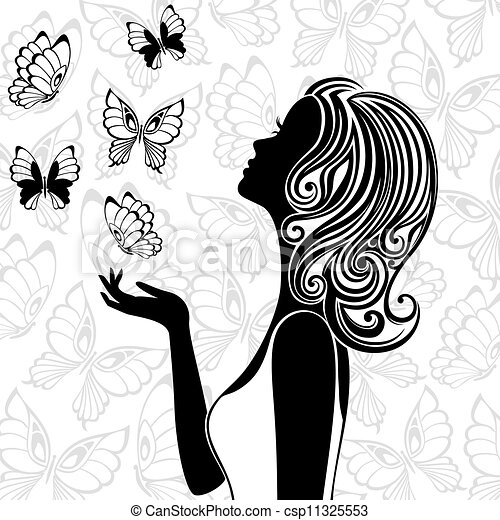 Silhouette of young woman with flying butterflies - csp11325553