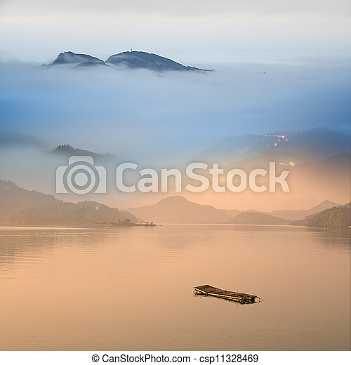Fisherman on the lake - csp11328469
