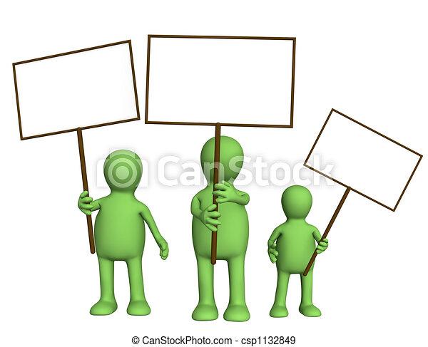 família, fantoches, cartazes, mãos - csp1132849