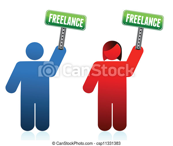 male and female freelancer signs - csp11331383