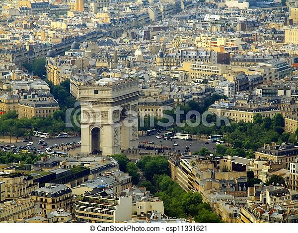 Paris city aerial view from Eiffel tower - csp11331621