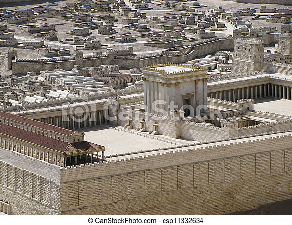 Model of the Second Temple of Jerusalem also know as Herod\'s Temple is found in Israel Museum in Jerusalem .