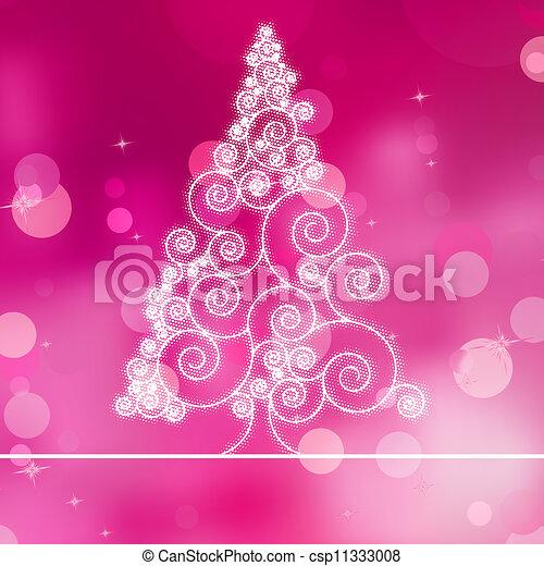Christmas tree illustration on purple bokeh. EPS 8 - csp11333008