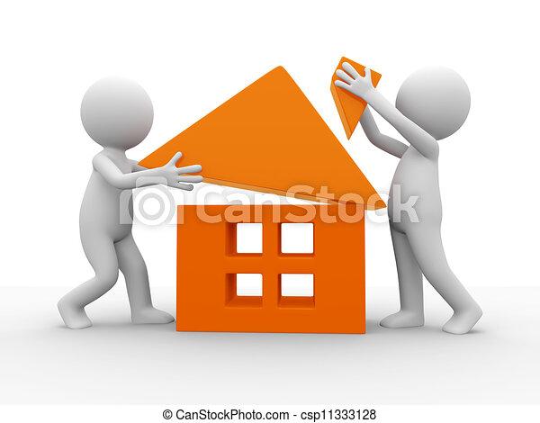 Haus bauen clipart  Clip Art von haus, bauen - Two, karikatur, charaktere, bauen, a ...