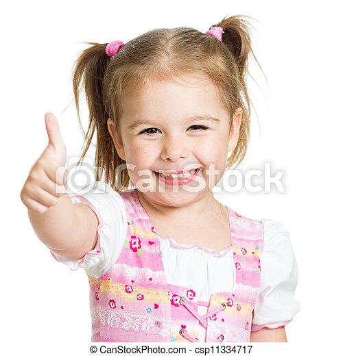 子供, の上, 親指, 手, 女の子, 幸せ - csp11334717