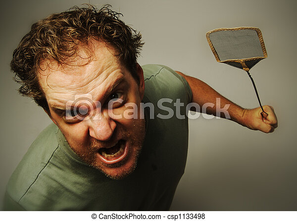 Livid Man Hates Bugs - csp1133498