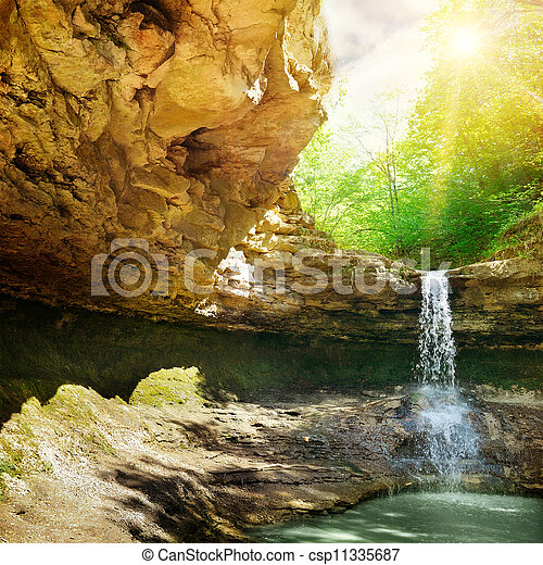 waterfall in the mountain - csp11335687