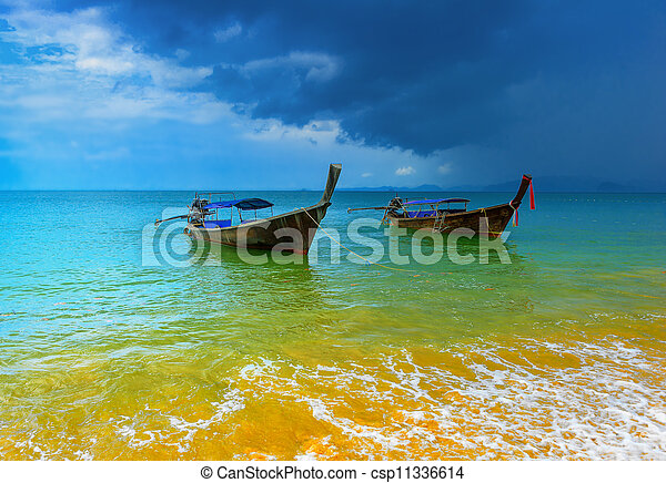 Sea cost nature landscape. Weather changes with storm clouds and rain. Thailand nature