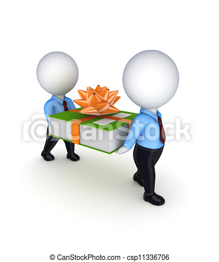 3d small people with a green office folder. - csp11336706