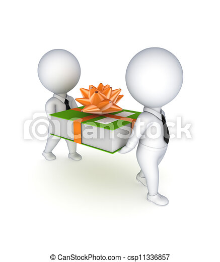 3d small people with a green office folder. - csp11336857