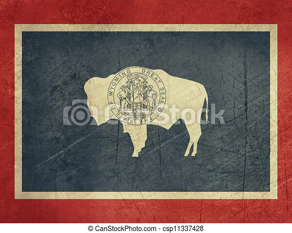 Grunge Wyoming state flag - csp11337428