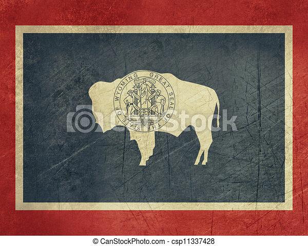 Grunge Wyoming state flag - csp11337428