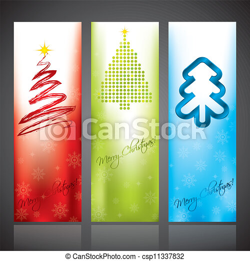 Christmas banners with various christmas tree designs - csp11337832