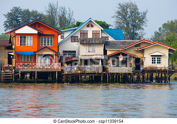 Over Water River Stilt Residential Houses Bangkok - csp11339154