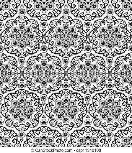 Vector seamless damask pattern - csp11340108