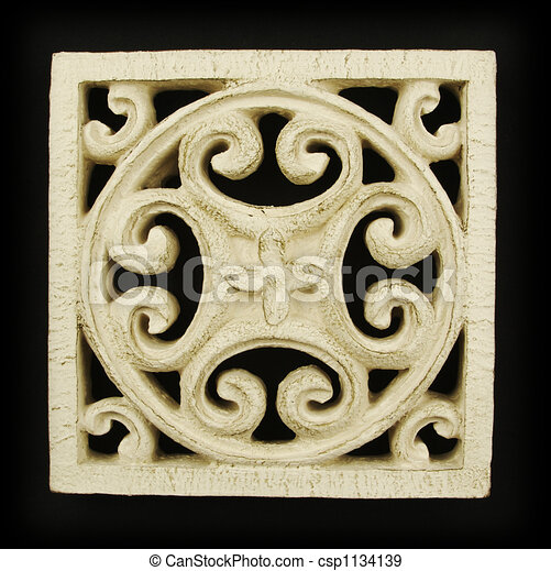 Ornate Wood Carving Ornament - csp1134139