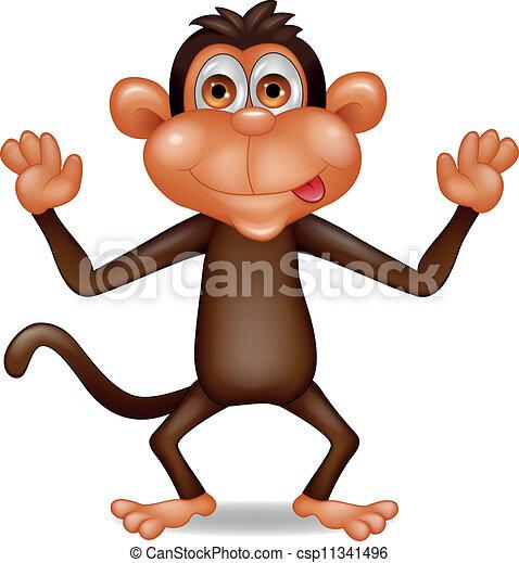 Funny monkey cartoon - csp11341496