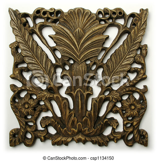 Ornate Wood Carving Ornament  - csp1134150