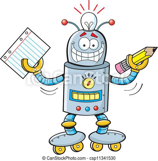 ... animé, Illustration, de, a, robot, tenue, a, papier, et, a, crayon