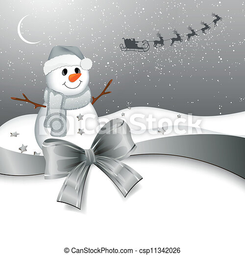 Vector Snowman in a Winter Landscape - csp11342026