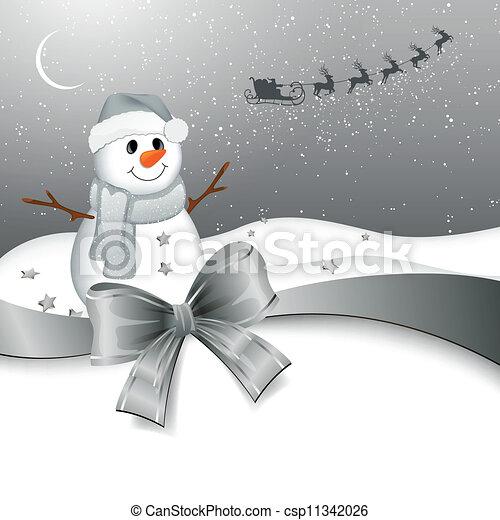 Vector Snowman in a Winter Landscape - csp11342026