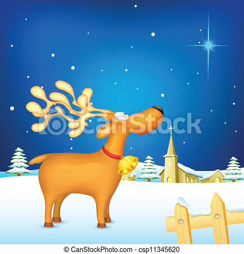 Reindeer in Christmas night - csp11345620