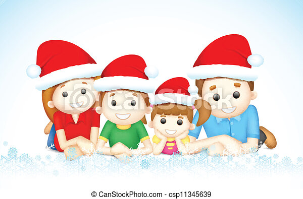 Vectors of Christmas Family - illustration of 3d happy ...