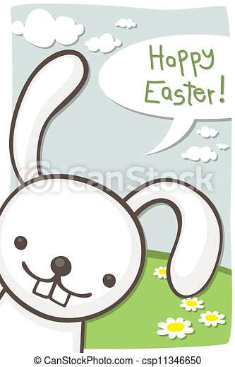 Easter card with bunny - csp11346650