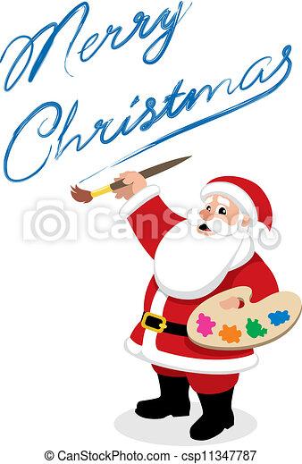 Vector of Santa - Painter - Santa, drawing or painting. You can ...