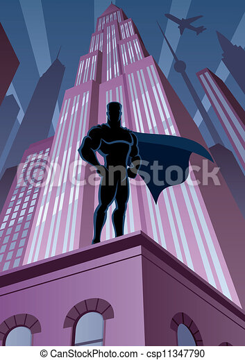 Superhero in City - csp11347790