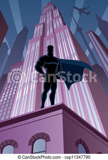 Superhero in City - csp11347790