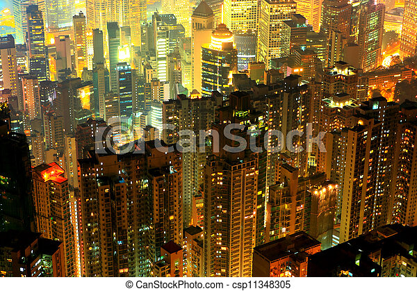 crowded residential building in night - csp11348305