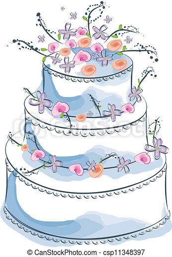 drawings of wedding cakes