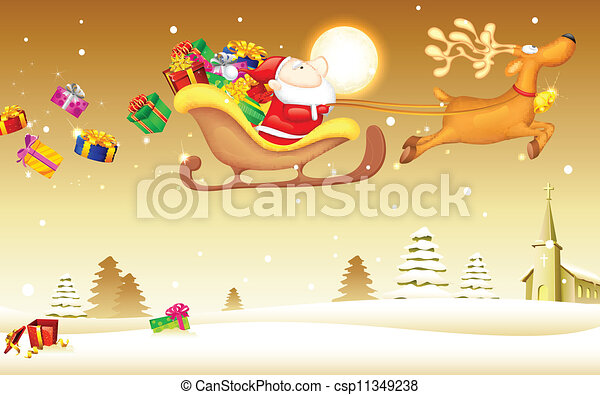 Santa Claus with Christmas gift in Sledge - csp11349238