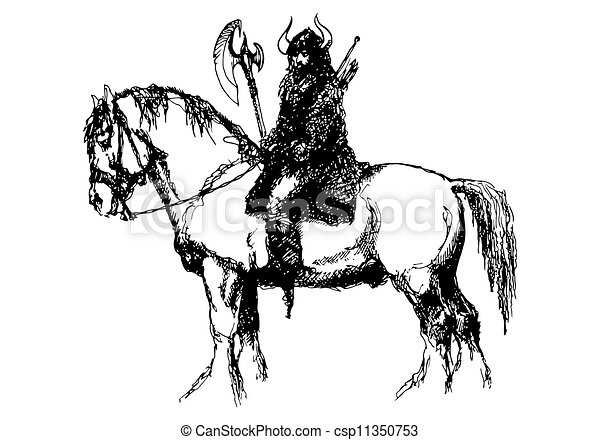 Illustrations de viking cheval guerrier sur a grand - Dessin de viking ...